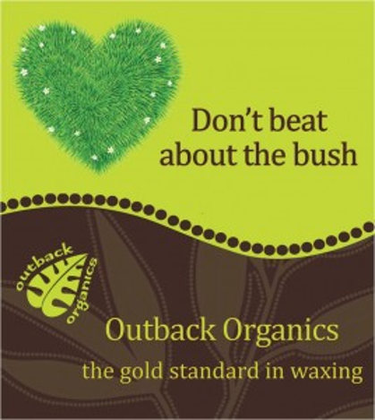 "Outback organics logo and slogan ""don't beat about the bush"" ""outback organics the gold standard in waxing"""