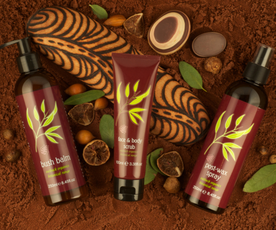 three of outback organics homecare products. bush balm, face & body scrub and post-wax spray.