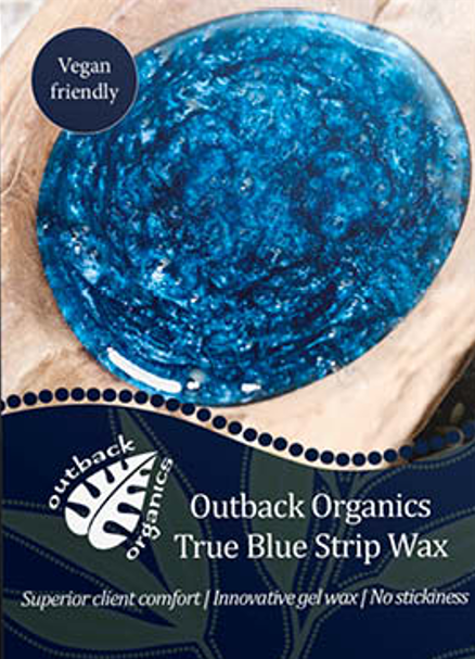 "outback organics vegan friendly true blue strip wax ""superior client comfort, innovative gel wax, no stickiness"""