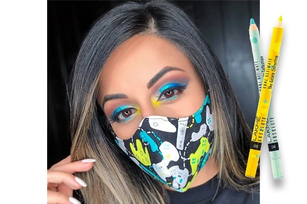 lady wearing makeup with a face mask